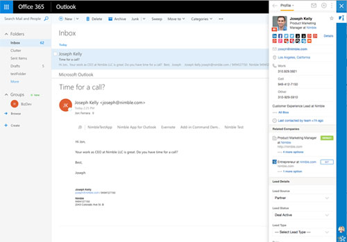 Nimble in Outlook