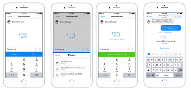 PayPal p2p payments on facebook messenger