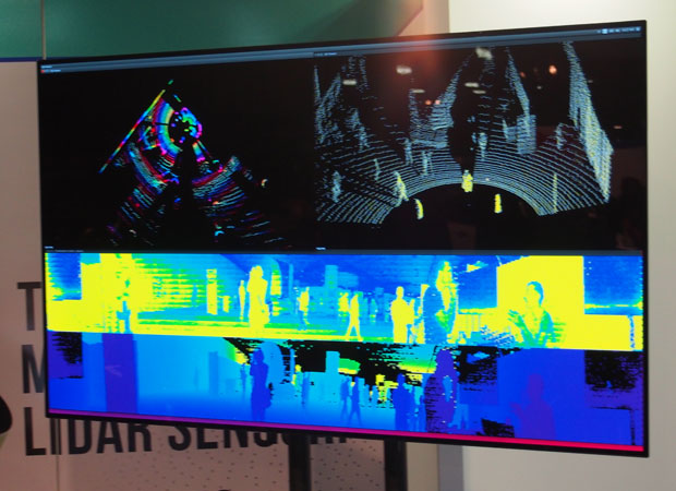 LIDAR display shows how sensors in an autonomous vehicle can track people and movement on different visual spectrums.