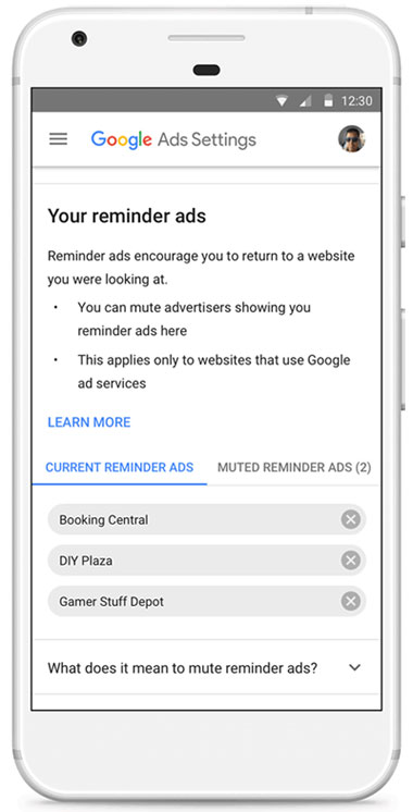 Google Ads Settings smartphone display