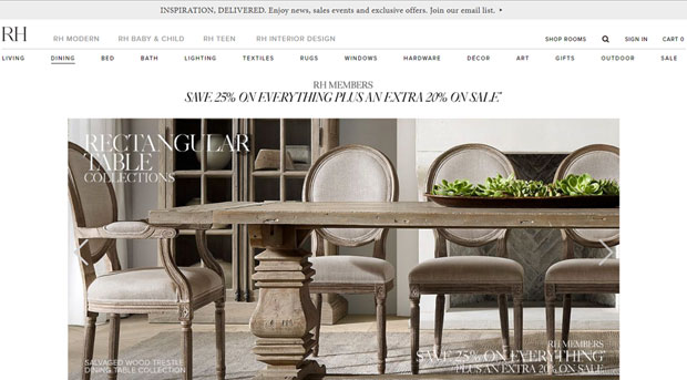 Restoration Hardware screen shot