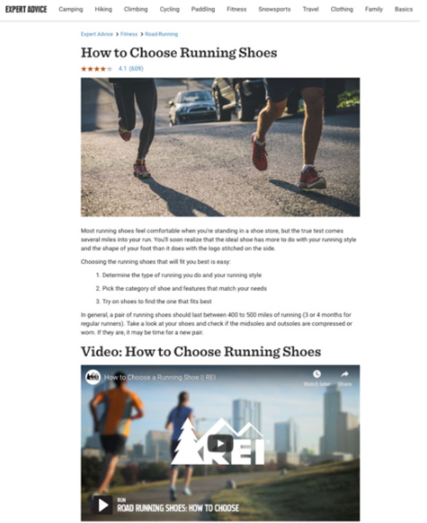 REI How to Choose Running Shoes screenshot