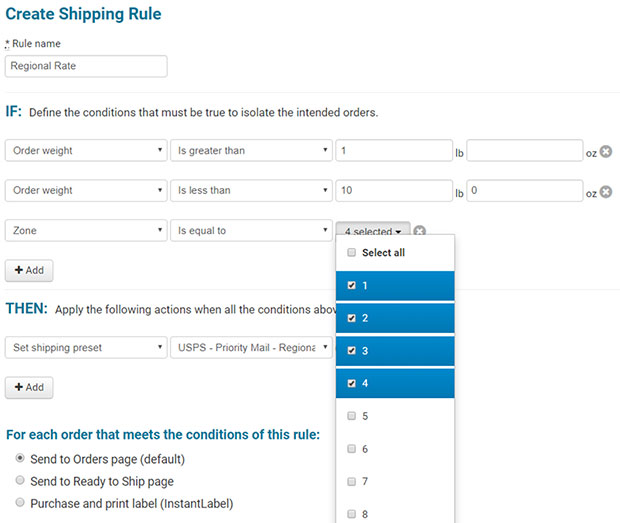 USPS Regional Rate: Create Shipping Rule screenshot
