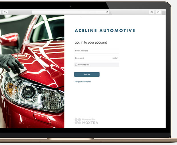 Moxtra business web portal login screen