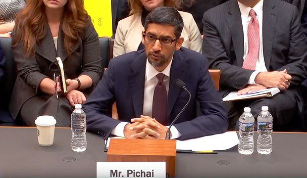 google ceo sundar pichai addresses the house judiciary committee about google's practices and plans